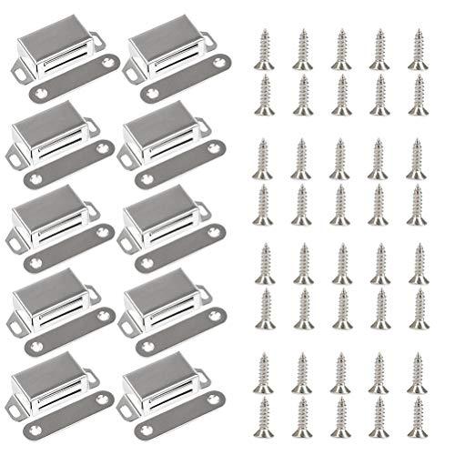 10 Stück Magnetschnäpper, YANSHON Magnetverschluss für Möbel Schranktür, Schrank Magnetschloss, Möbel Magnet Türschließer/Haftmagnet Möbelbeschläge, Weiß Magnetverschluss