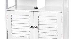 VASAGLE Waschbeckenunterschrank Unterschrank ohne Waschbecken Aufbewahrung viel Stauraum Badschrank mit Lamellentüren 2 Fächer weiß 60 x 60 x 30 cm (B x H x T) BBC02WT